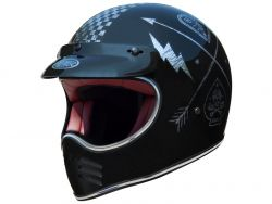 TROPHY MX MOTORRAD HELM NX SILVER CHROMED VINTAGE CROSS