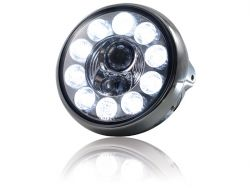 LED-Scheinwerfer 7,British Style , chrom, 10 LED\'s, Reflek